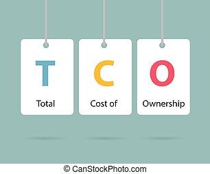 cout, total, illustration, tco, -, concept, business, vecteur, propriété