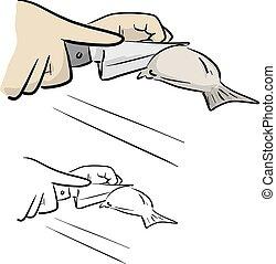 couteau, illustration, gros plan, main, noir, isolé, fish, dessiné, lignes, fond blanc, griffonnage, vecteur, découpage, croquis