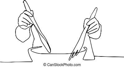 coutellerie, obtenir, salade, manière, homme, concept, minimal, une, bol, ligne, petit déjeuner, mains, salad., eating., grand, sain
