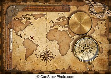 couvercle, vieux, carte trésor, corde, règle, compas, laiton, vieilli