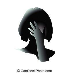 couvert, il, mai, tête, girl, illustration, ou, inquiétude, art, dessin, femme, vecteur, because, nuire, être, stress., main, elle, gros plan, regret, fermé, face.