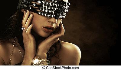 couvert, yeux, portrait femme