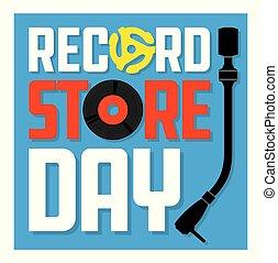 couverture album, enregistrement, jour, magasin, design.
