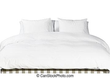 couverture, blanc, oreillers, lit