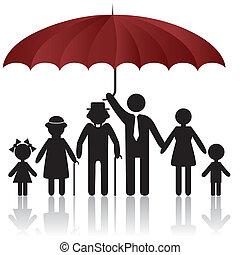 couverture, silhouettes, parapluie, famille, sous