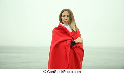 couverture, solitaire, girl, rouges, triste