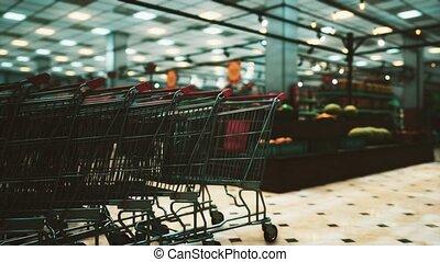 covid-19, vide, épidémie, supermarché