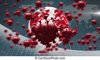 covid, animation, carte, mondiale, sur, fond, flotter, cellules, 19