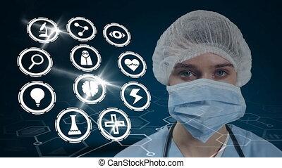 covid19, icônes, porter, animation, coronavirus, docteur, santé femelle, masque