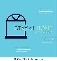 covid19, maison, message, séjour