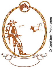 cow-boy, affiche, cadre, corde, vecteur, conception, fond
