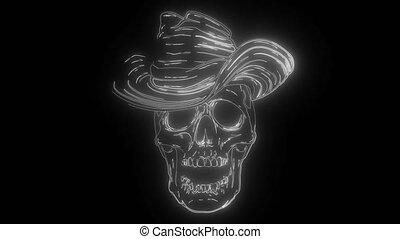 cow-boy, numérique, néon, vidéo, crâne, chapeau