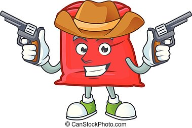cow-boy, sac, santa, ouvert, rouges, dessin animé