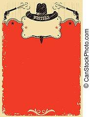 cow-boy, texte, decoration., occidental, fond, affiche, chapeau, rouges