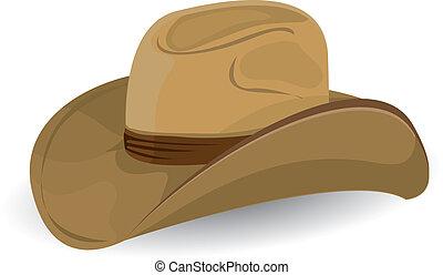 cow-boy, vecteur, illustration., hat.