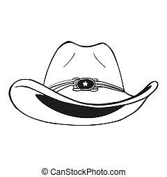 cow-boy, vendange, -, illustration, gravé, vecteur, chapeau
