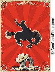 cowboy., grunge, texte, sauvage, rodéo, fond, cheval, race., vecteur, graphique, affiche