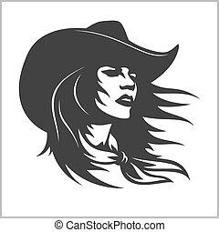 cowgirl, -, agrafe, mignon, 2, retro, art