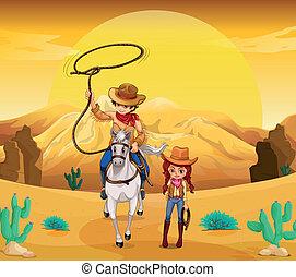 cowgirl, désert, cow-boy