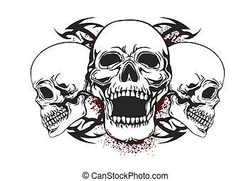 crâne, éléments, tribal