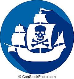 crâne, bateau, pirate