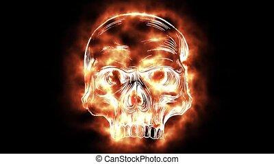 crâne, brûlé, création, crée, quoique, numérique