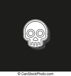 crâne, danger, symbole, -, signe, vecteur, icône, os croisés