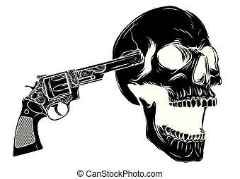 crâne, deux, illustratio, vecteur, revolvers, viser
