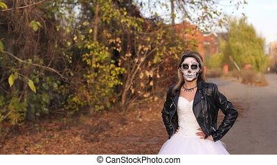 crâne, formulaire, jeune, terrifiant, maquillage, girl, vide, road.