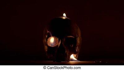 crâne humain, closeup, métrage, brûlé