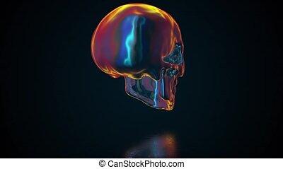 crâne humain, iridescent