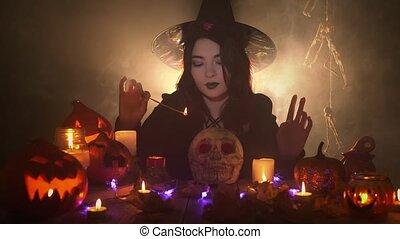 crâne, magie, sombre, sorcière, manteau, potirons, bougies, jeune, chapeau, sur