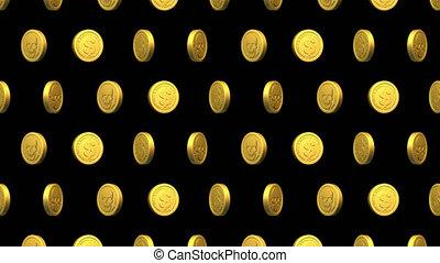 crâne, monnaie, dollar, vidéo, doré, -, modèle, seamless, pirate