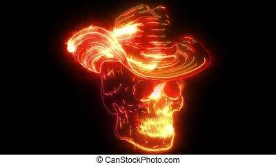 crâne, néon, caractère, feutre, classique, chapeau, numérique, cow-boy, vidéo, spooky