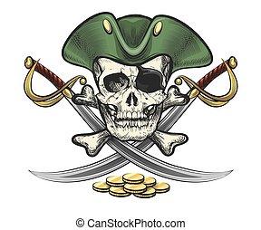 crâne, pièces, marin, sabres, chapeau, pirate