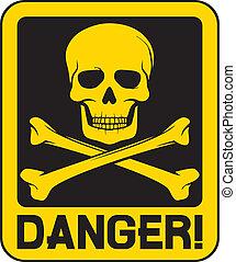 crâne, signe, vecteur, danger