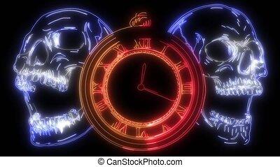 crâne, temps, vidéo, concept., montre poche, humain, mort