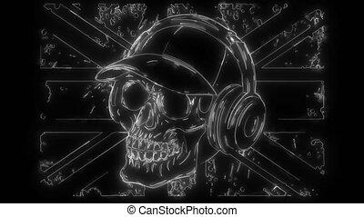 crâne, vidéo, tête, numérique, porter, chapeau