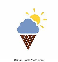 crème, glace, logo, formé, ciel
