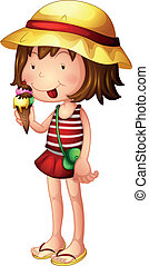crème, manger, glace, enfant