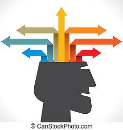créatif, dehors, ou, flèche, info-graphics