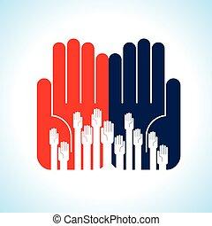 créatif, groupe, mains
