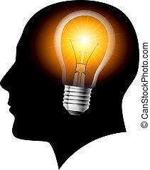 créatif, idées, ampoule, lumière, concept