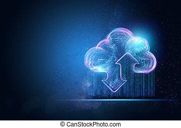 créatif, nuage, nuage, media., bleu, nouvelle technologie, image, networks., hologramme, arrière-plan., génération, concept, stockage, fond, mélangé