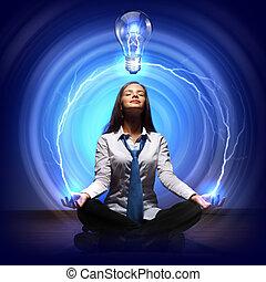 créativité, lumière, cocept, ampoule