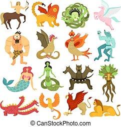 créatures, mythique, ensemble