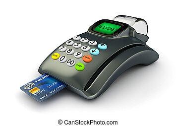 crédit, 3d, carte, pos-terminal