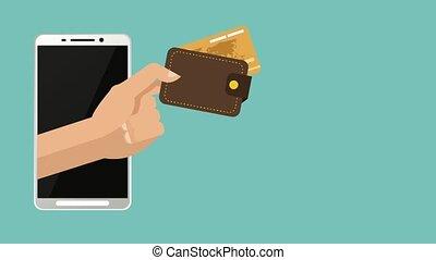 crédit, animation, carte, ligne, paiement, hd