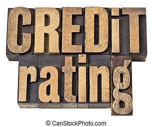 crédit, bois, type, classement