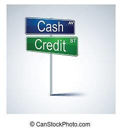 crédit, espèces, route, direction, signe.